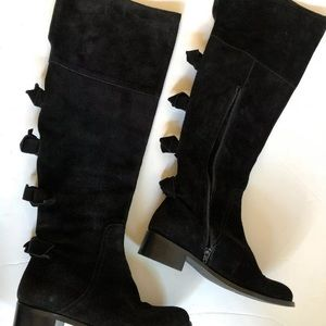 Sesto Meucci Black Suede Boots With Bows Size 5.5